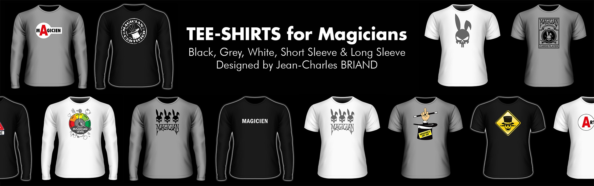 tee-shirt-magician-black-grey-white-long-sleeve-short-sleeve-jean-charles-briand-madjicshop